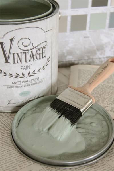 vintage paint murale dusty green vernici shabby