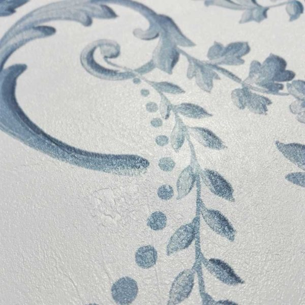 "Carta da Parati LUXURY ""Silver & Blue"" - Vintage Paint -"
