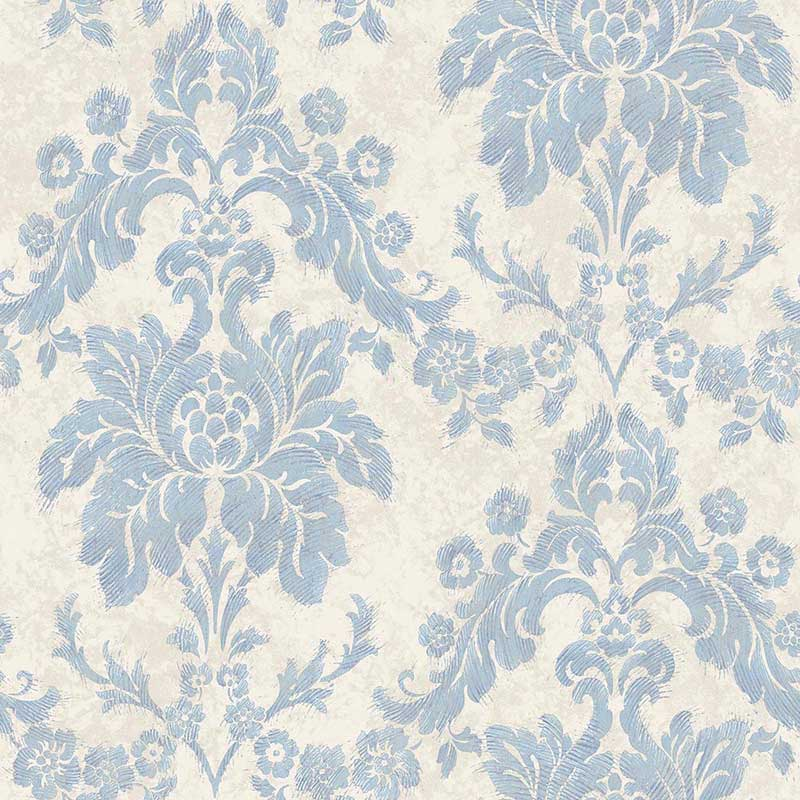 Carta da parati luxury damascato blue vernici shabby for Carta da parati vintage
