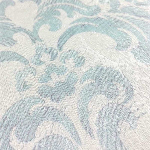 "Carta da Parati LUXURY ""Damascato Light Blue"" VINTAGE PAINT"