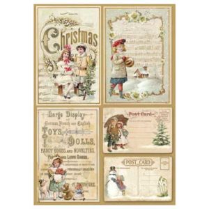 Foglio in carta di riso per decoupage 21 x 30 Christmas Cartoline