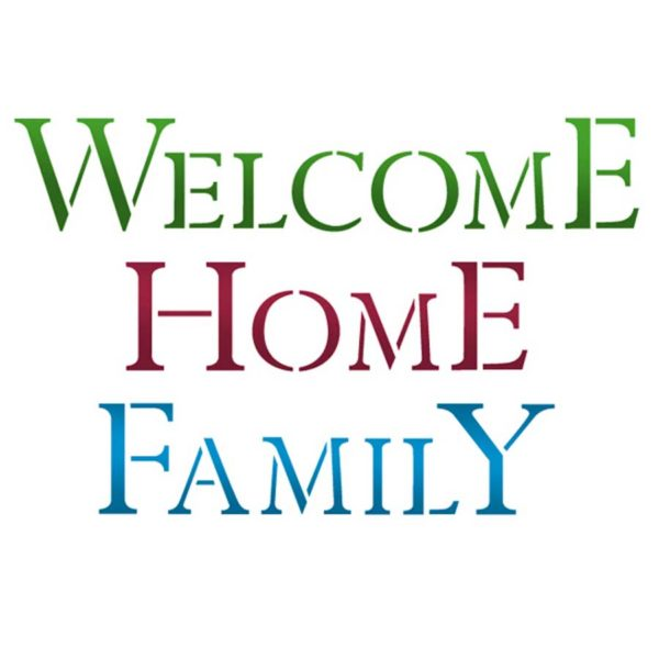 Stamperia Stencil Medio Welcome home family vernici shabby