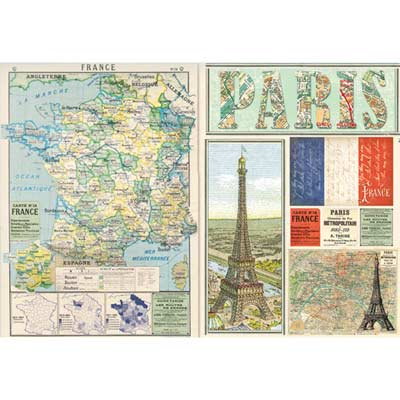 Carta di riso per decoupage 33 x 48 Travel France