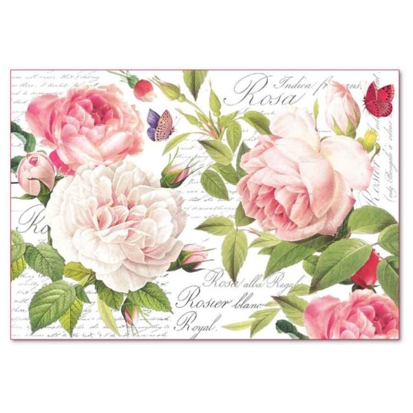 Carta di riso per decoupage 33 x 48 Rose
