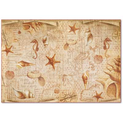 Decoupage grandi superfici - kit 6 fogli 33 x 48 Seashell