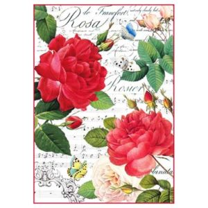 Carta di riso per decoupage 21 x 30 Rose