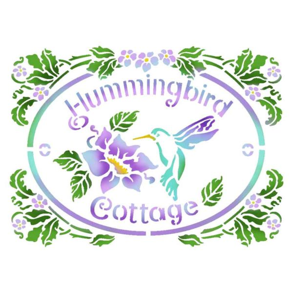Stamperia Stencil piccolo Hummingbird Cottage
