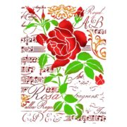 Stamperia Stencil Medio Rose e Note