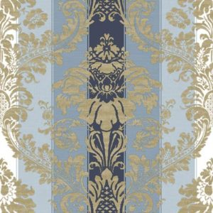 Carta da parati Damascato Righe Blue vernici shabby